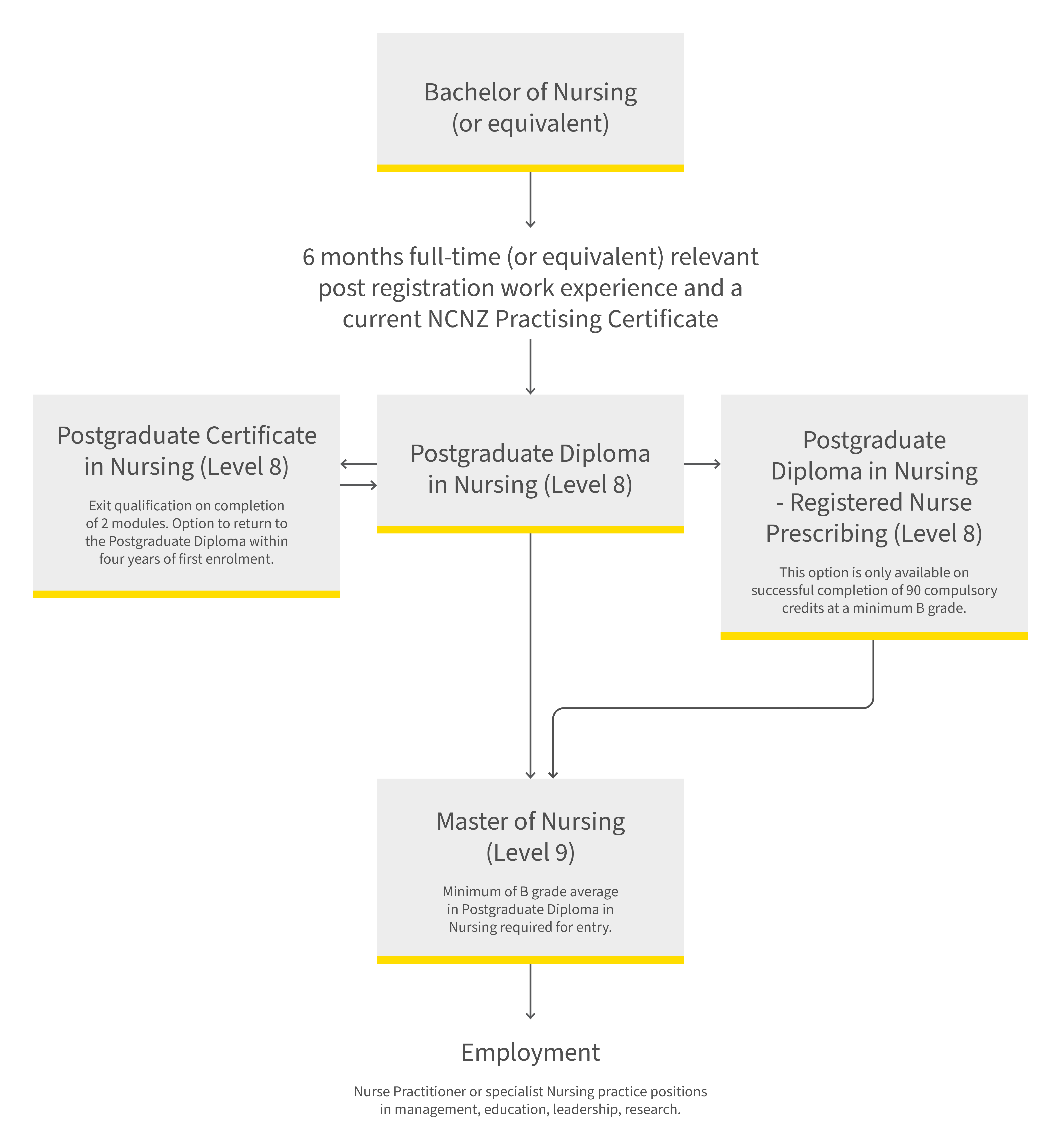 Postgraduate nursing pathway diagram