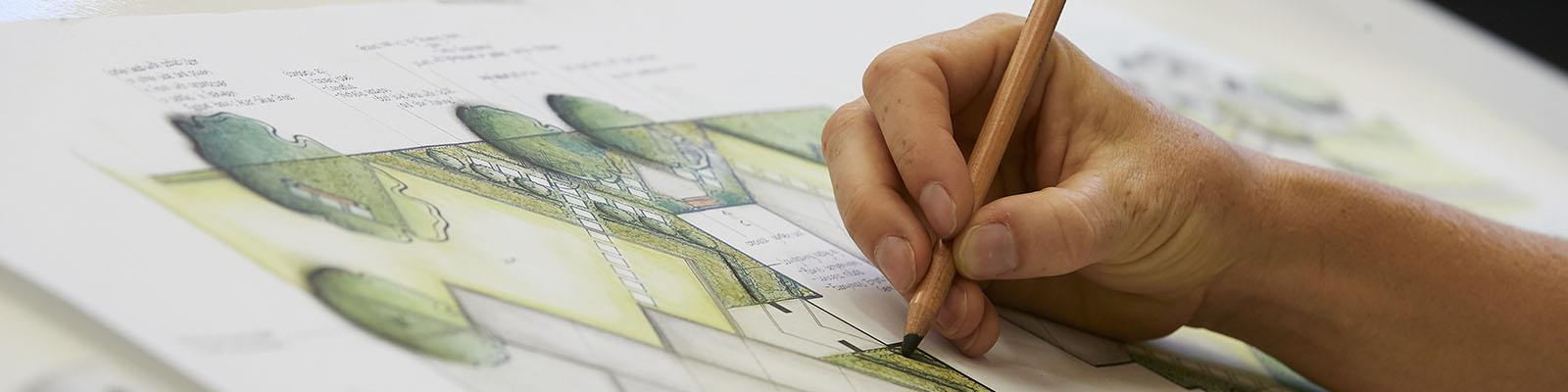 close up of landscape design plan