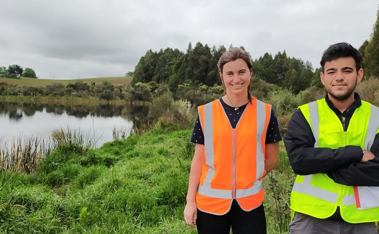 Wintec students Sasha Dowling and Dip Barot onsite at Lake Rotopiko where too many birds are causing big problems
