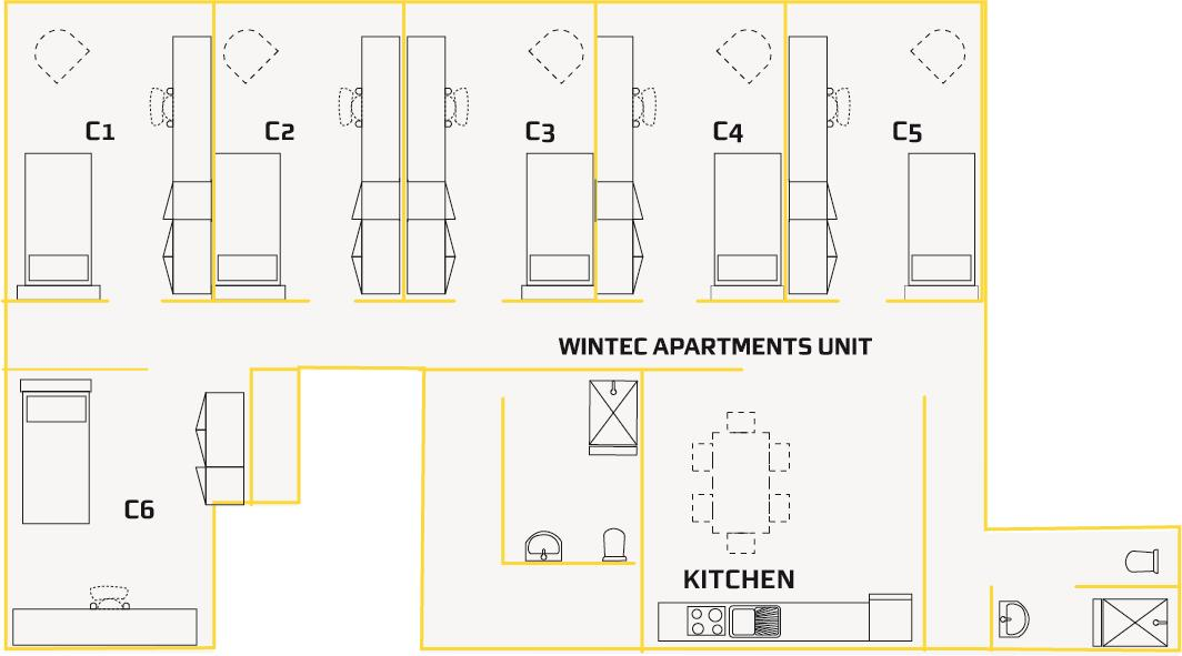 Single Apartment floor plan Student Village