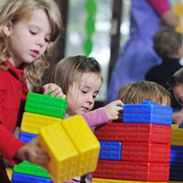 children playing with block toys
