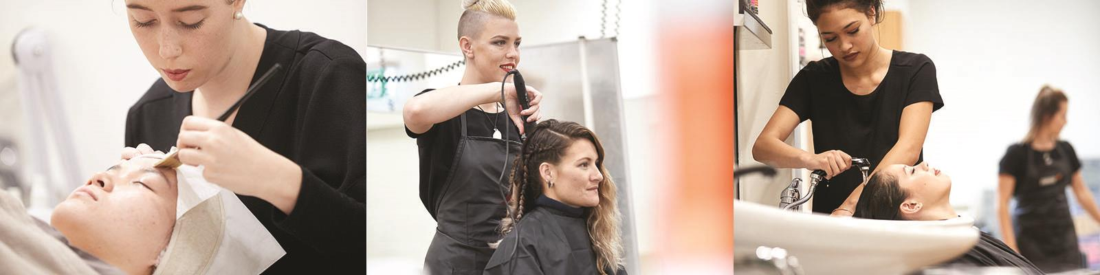hairdressing and beauty therapy students providing service to clients