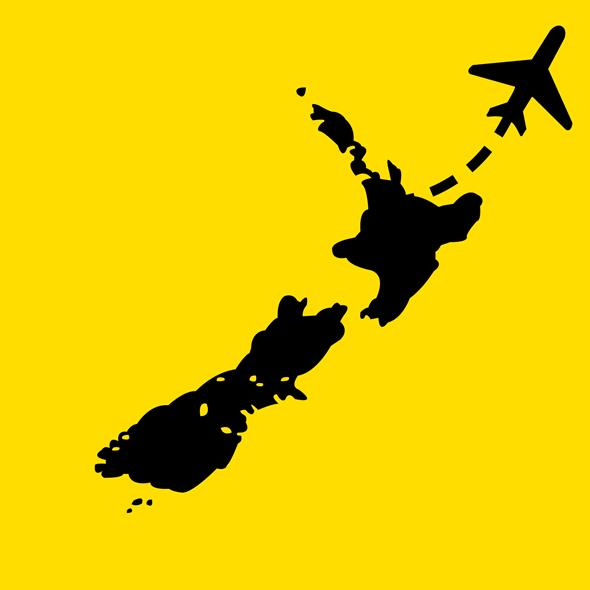 Plane flying out of New Zealand (illustration)