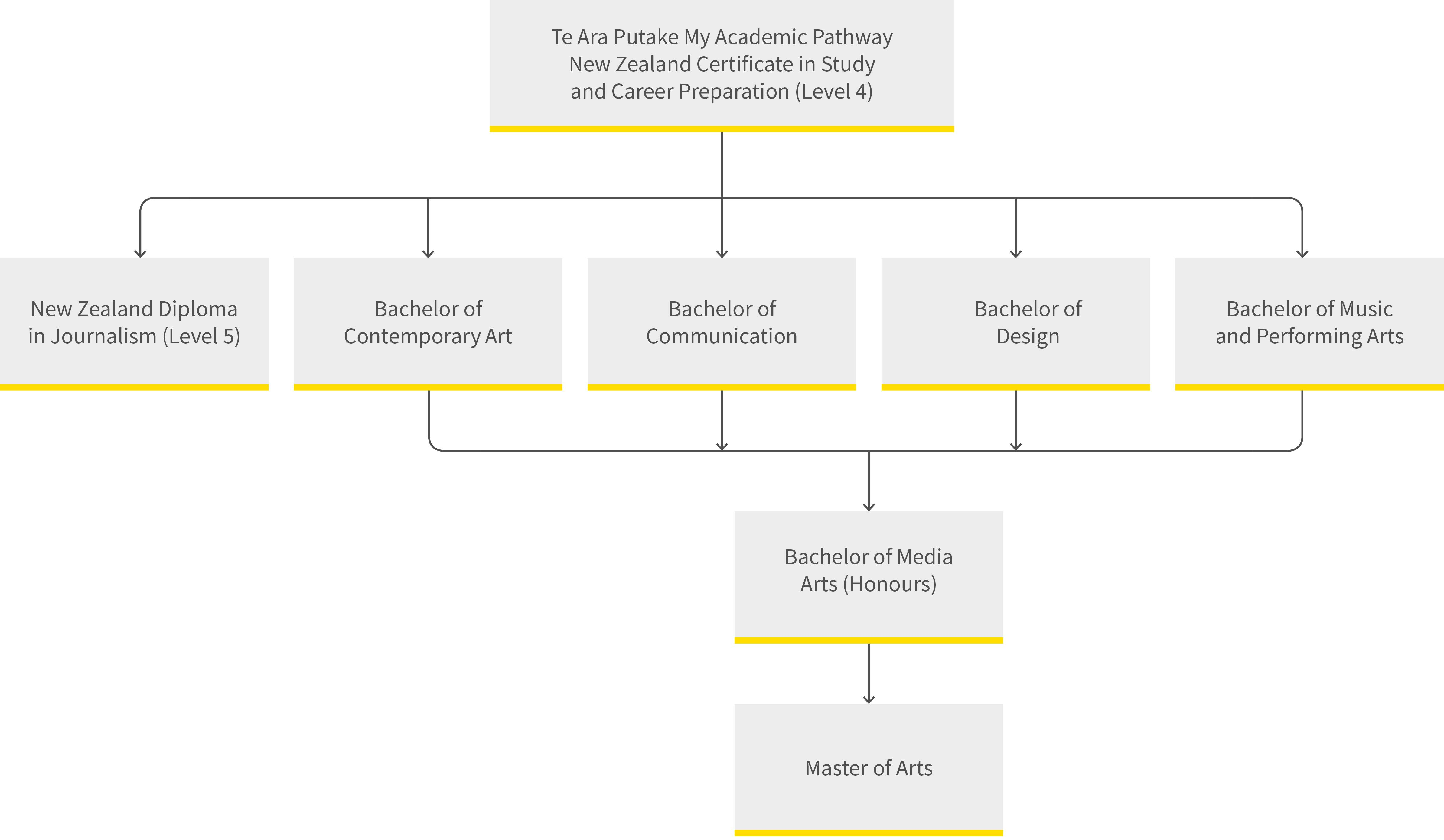 Media Arts pathway diagram for semester 2 2019