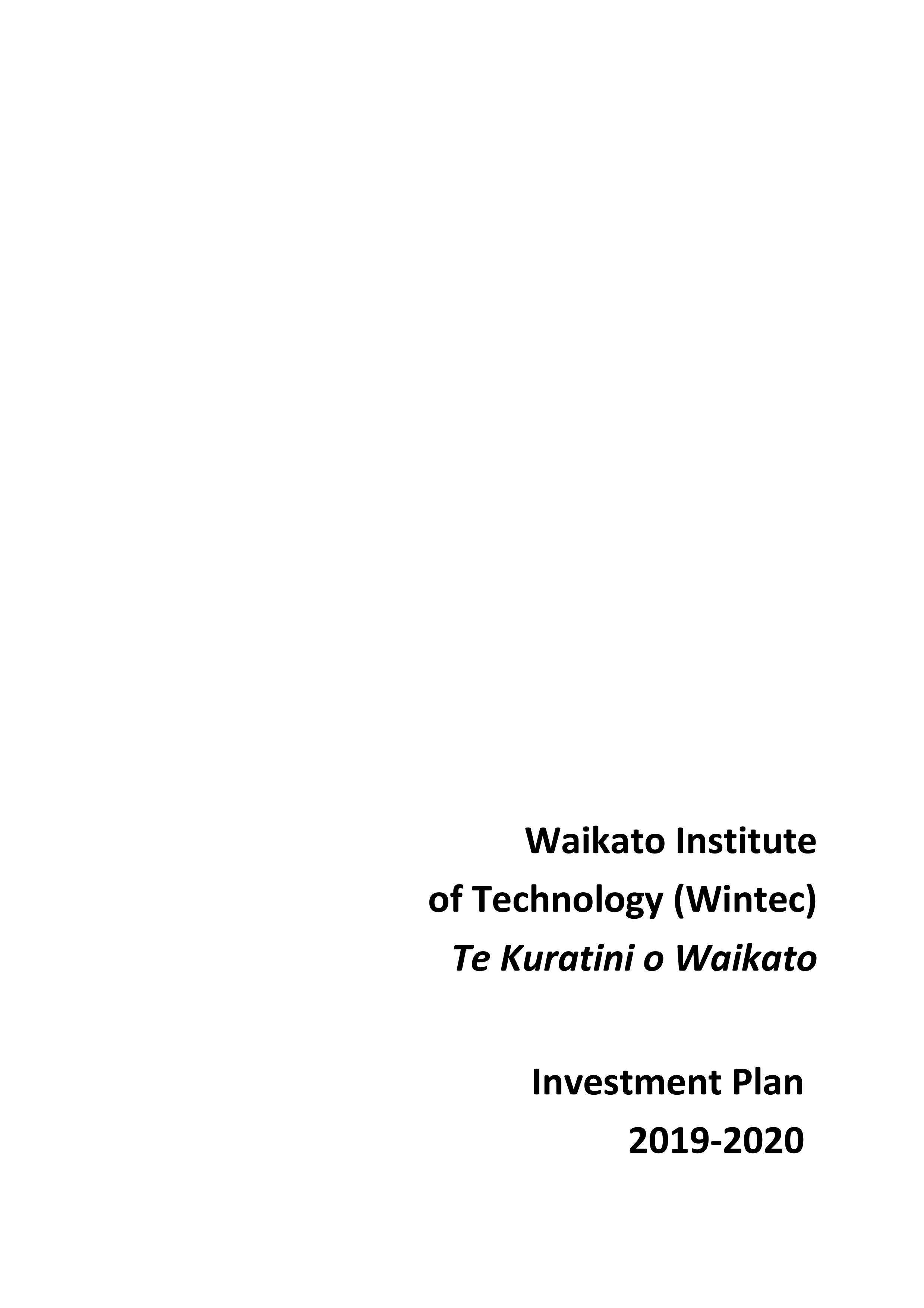 Wintec investment plan 2019-2020