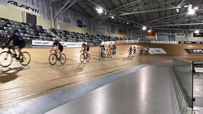 Cyclists using velodrome