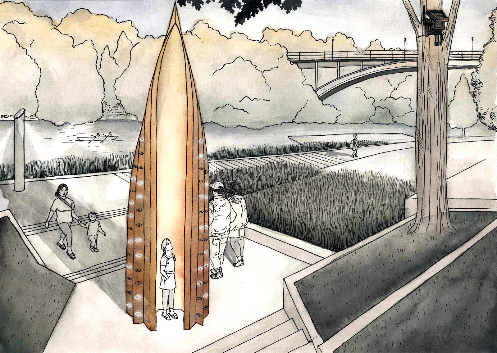 Artist's impression of Tōia Mai, Hamilton's new interactive waka sculpture to be gifted by Wintec.