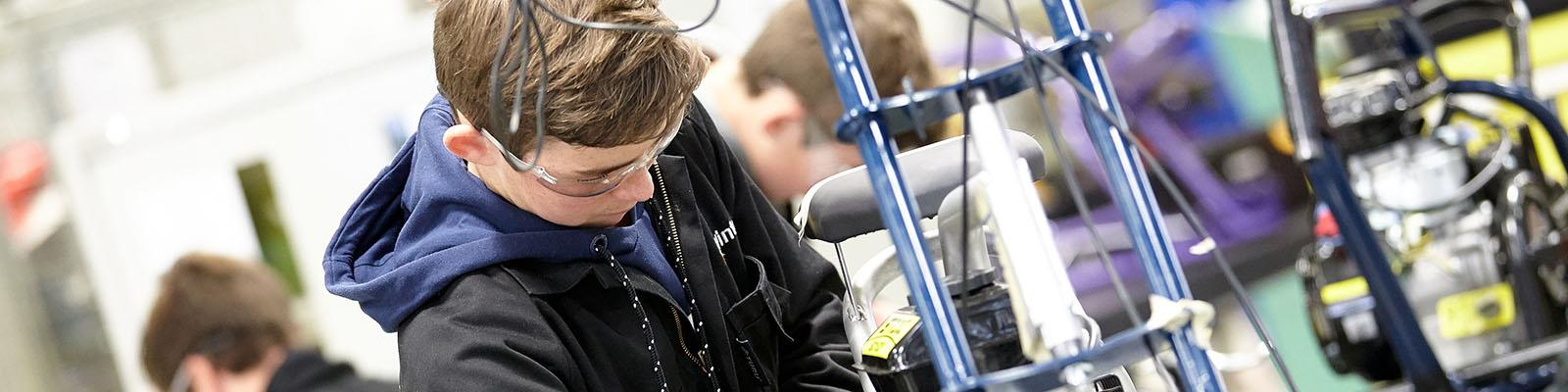 Waikato Trades Academy student in the workshop at Wintec