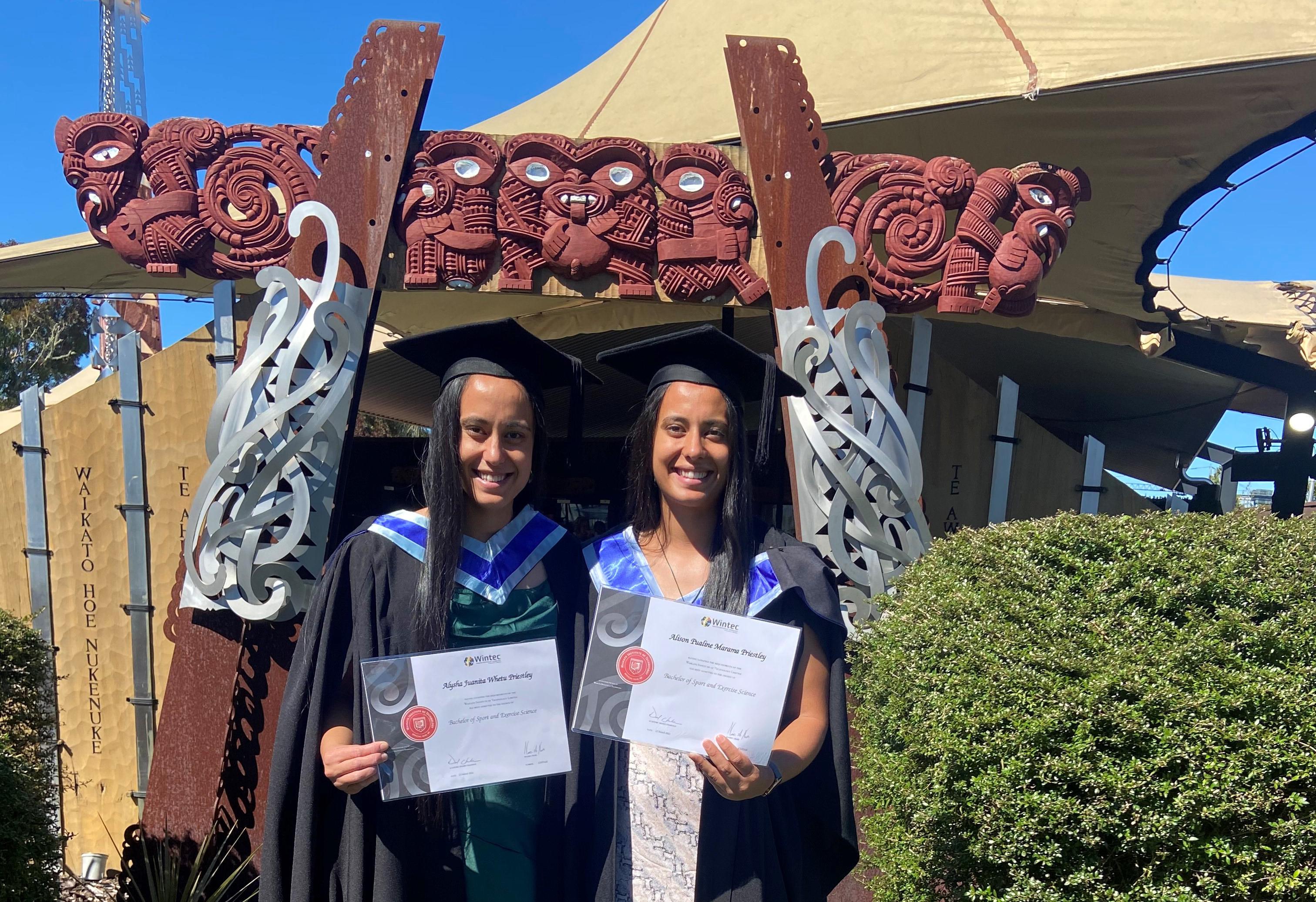 Alison and Alysha Priestley graduate at Te Kōpū Mānia o Kirikiriroa Marae