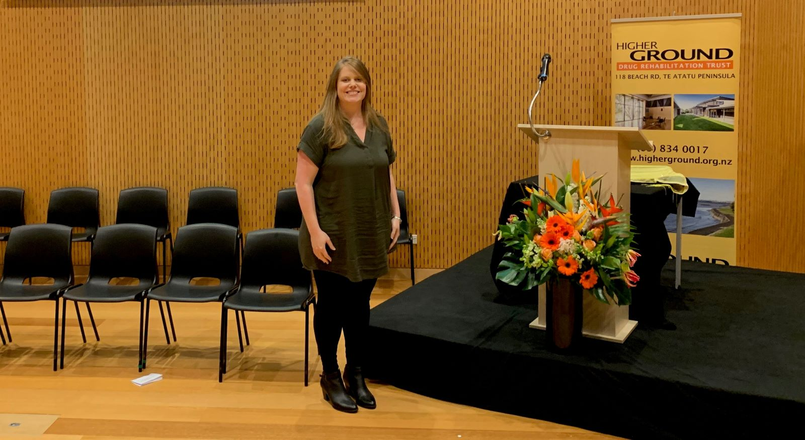 Cassandra Cook attending a participants's graduation at the Auckland drug courts