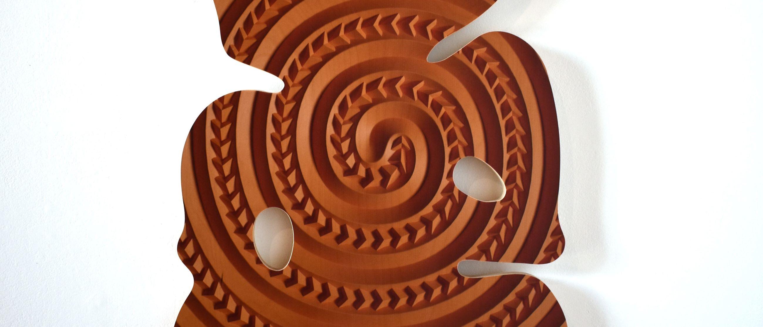 Detail orange hei tiki, Kereama Taepa for Te Ao Mariko at Ramp Gallery