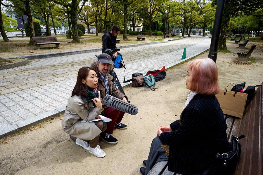 Filmmaker John Mandelberg in Hiroshima directing an interview with Haruko Moritaki, Executive Director World Nuclear Victims Forum