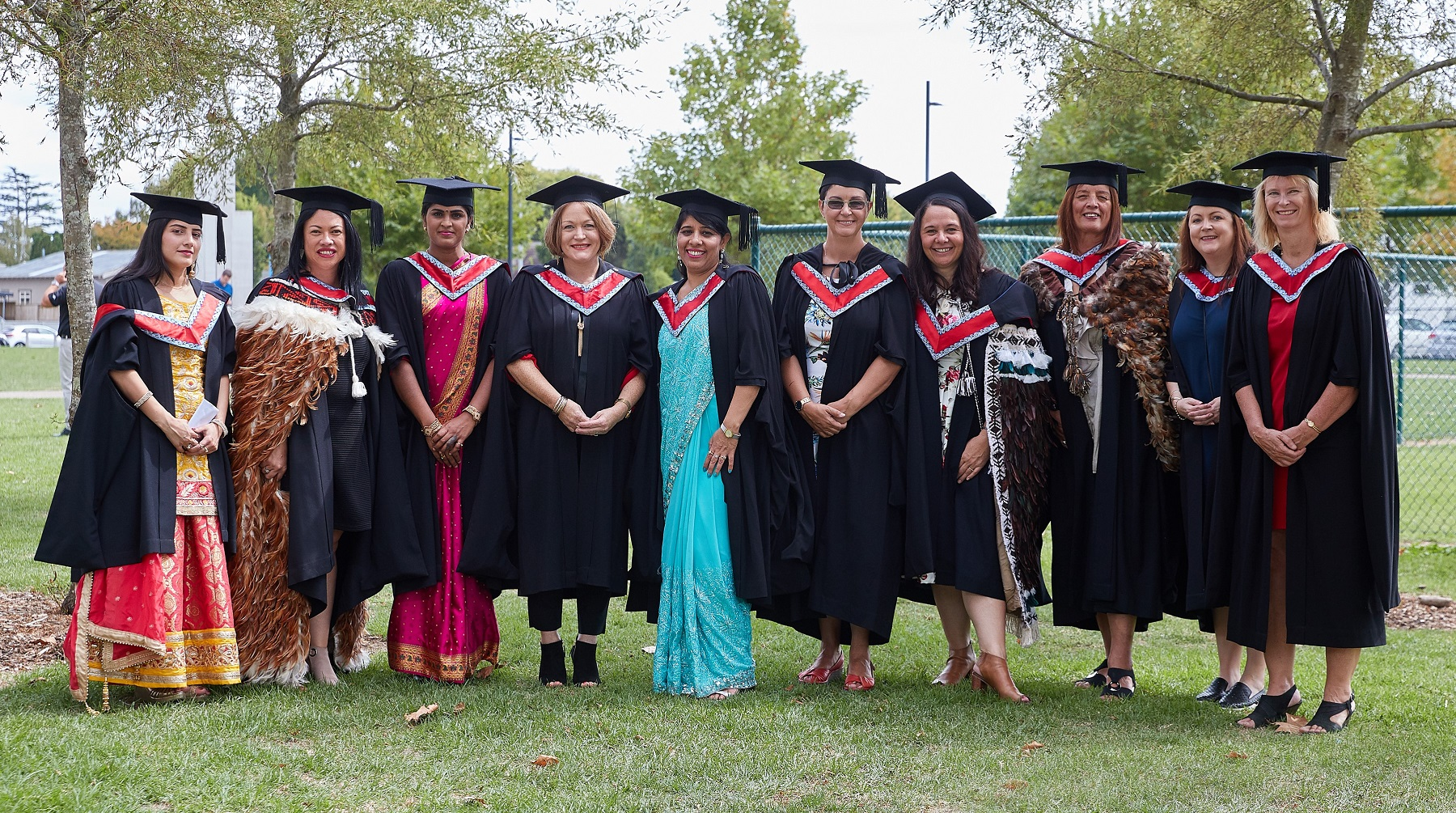 Natalie Lewis, Janette Ngaheu and Myra Pourau with the 2019 Wintec Master of Nursing and Master of Professional Practice graduates.