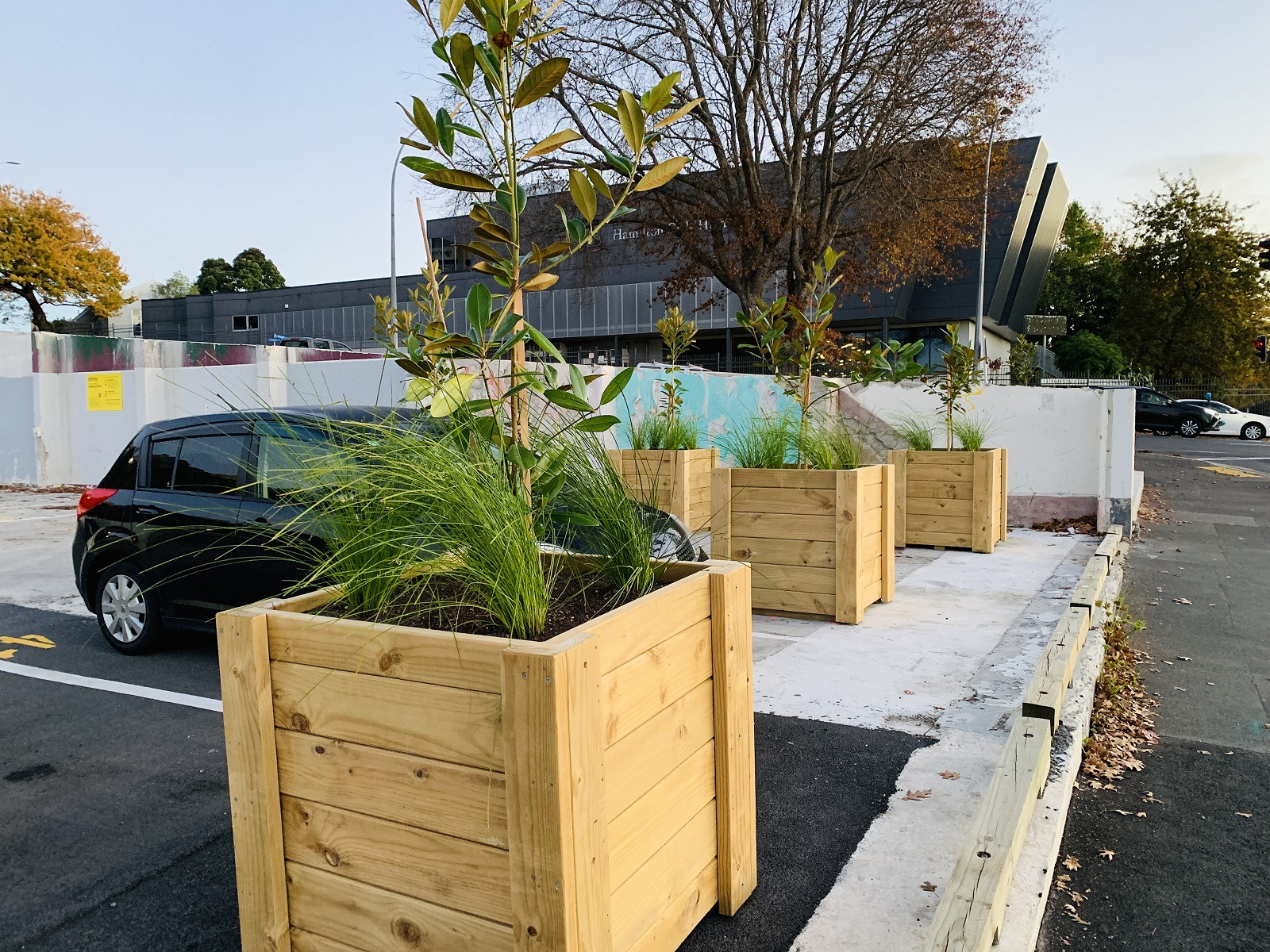 Planter boxes constructed by Wintec trades students line the Ward Street student car park