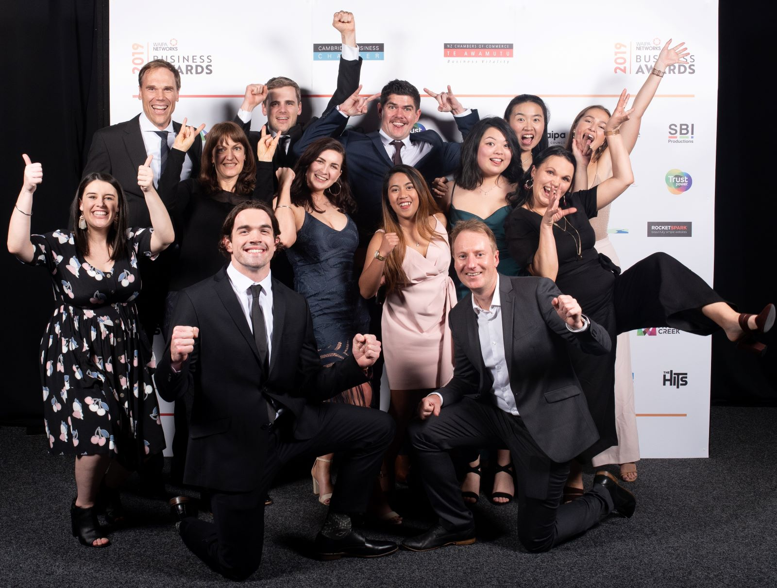 The Rocketspark team celebrating local business success at the 2019 Waipa Business Awards